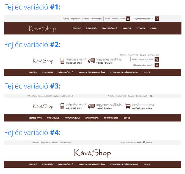 Webáruház megjelenés választás - fejléc variációk