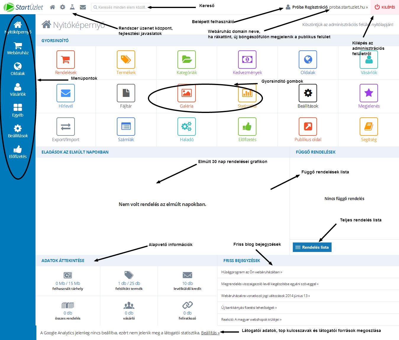 StartÜzlet - Webáruház adminisztrációs felület